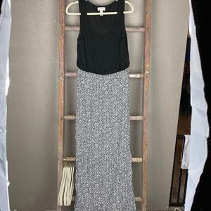 Loft Black and White Maxi Dress Med